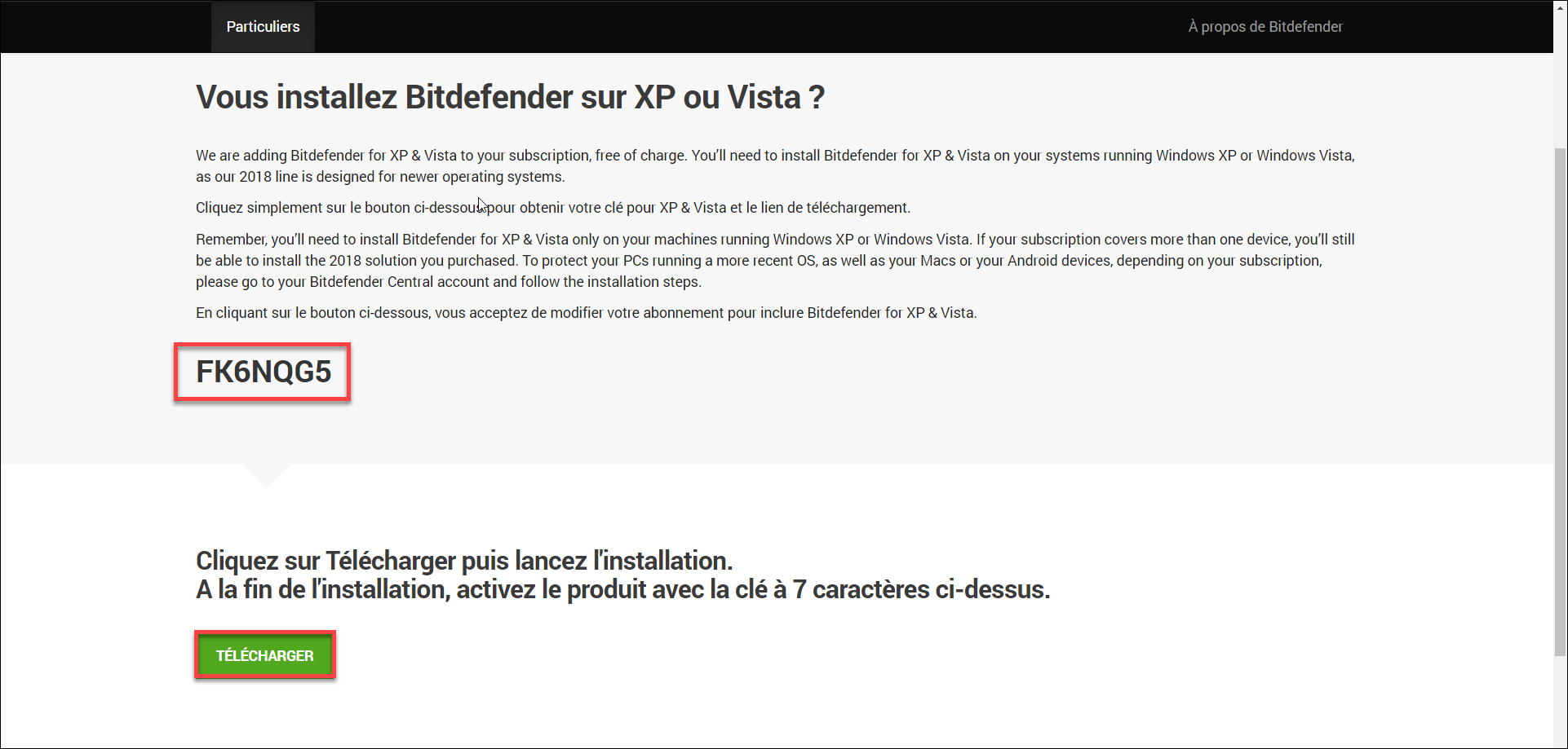 comment installer bitdefender sur windows xp et windows vista. Black Bedroom Furniture Sets. Home Design Ideas