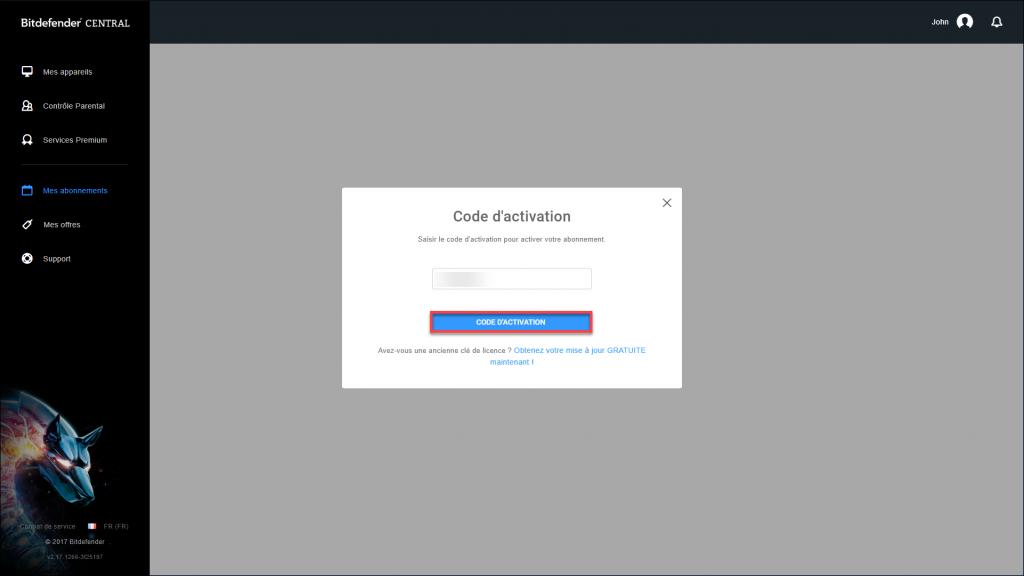 activation code.fr_FR