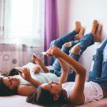 Teenagers using social media